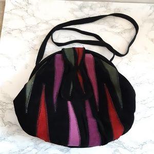 Vtg leather clamshell crossbody shoulder bag
